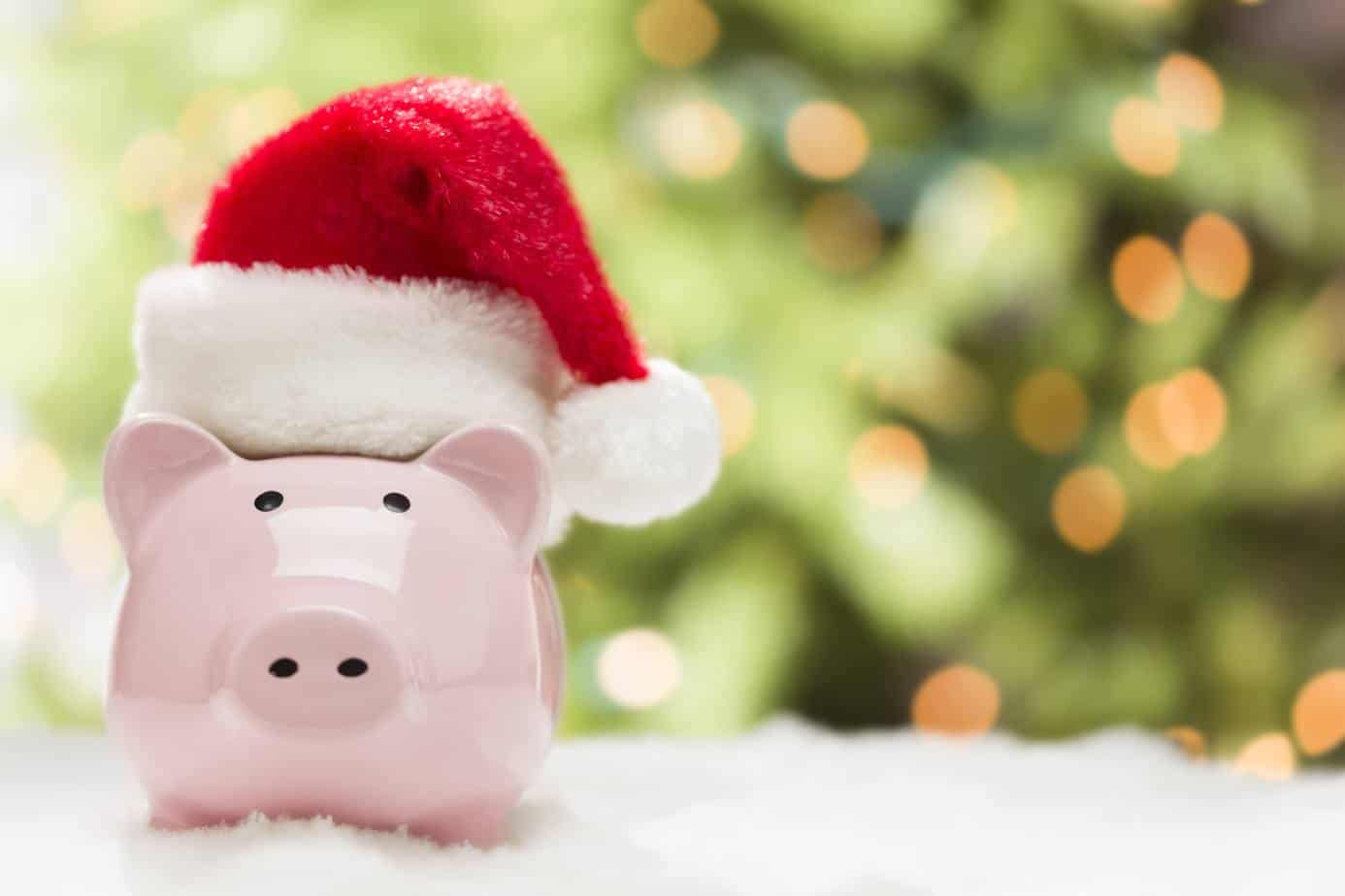 piggy bank with Santa hat on