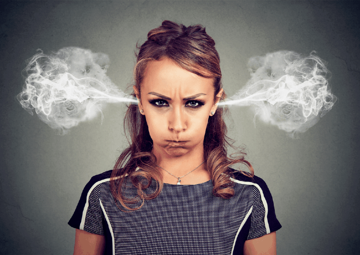 angry woman with steam coming out her ears